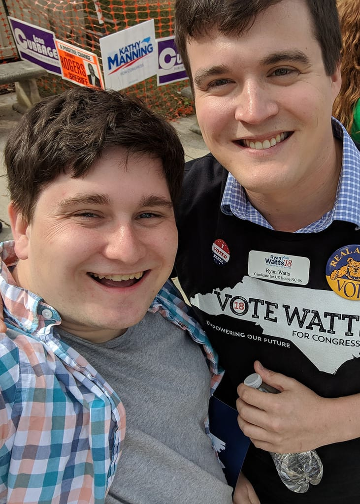 Picture of Elijah with candidate for US Congress Ryan Watts