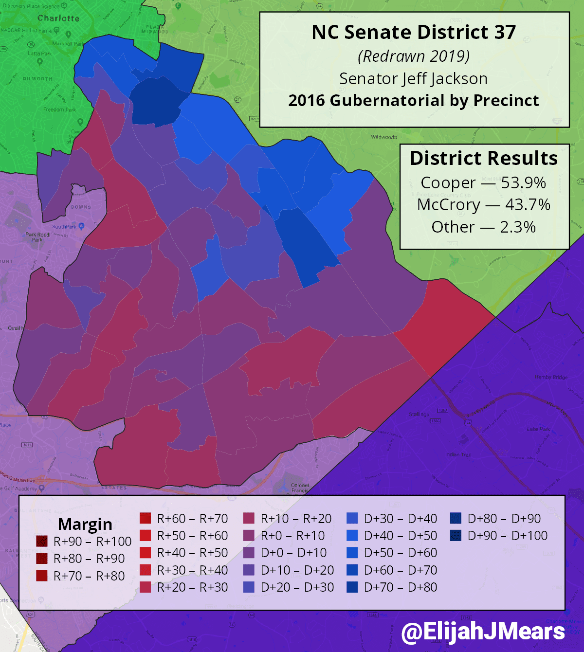 Precinct results in new Senate District 37 for the 2016 Gubernatorial election