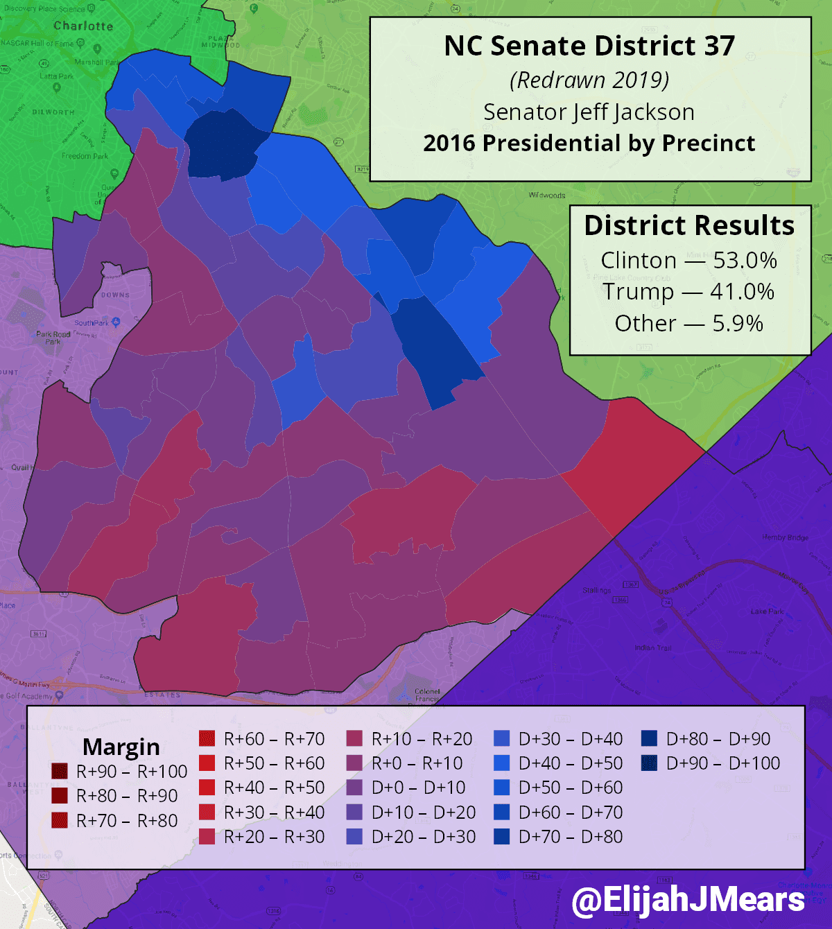 Precinct results in new Senate District 37 for the 2016 Presidential election